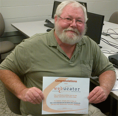 Jim Harlan with his Webucator voucher
