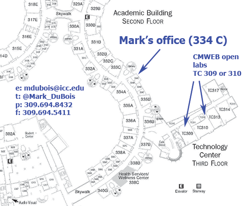 Mark's office is 334 C, open labs are TC 3009 or TC 310