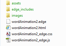 Types of files associated with existing Edge project.