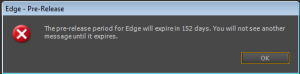 Warning message that Edge will expire in 152 days