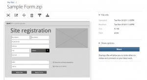 Sample form wireframe in Adobe Creative Cloud