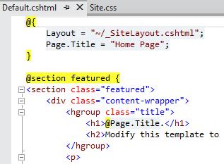 Example Razor code snippet
