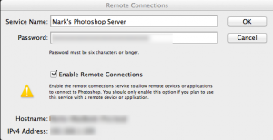 Screen capture of Photoshop server connection showing key settings