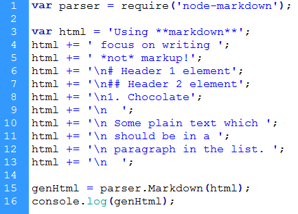 JavaScript using Markdown syntax