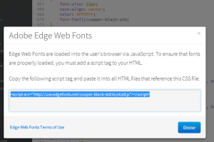 Code to include in the HTML to make the font available.
