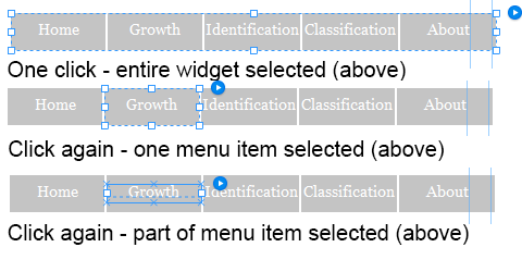 Click to select a specific part of the widget