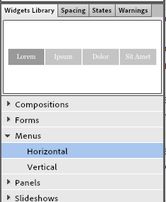 Widget menu choices
