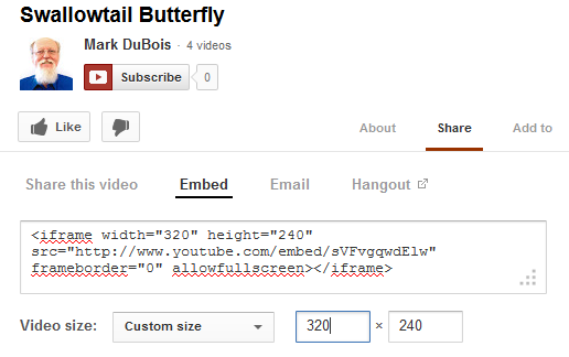 Sharing a video form YouTube