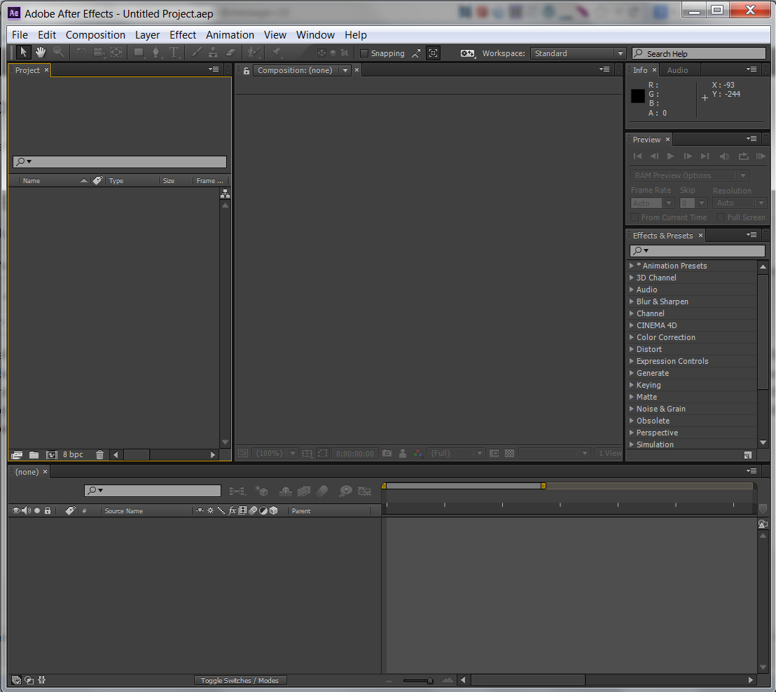 After Effects Initial View