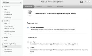 Creating a provisioning profile