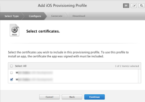 Select Certificates for Provisioning Profile
