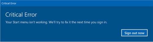 Critical error - start menu not working