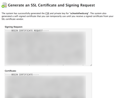 Certificate Signing Request and private key generated