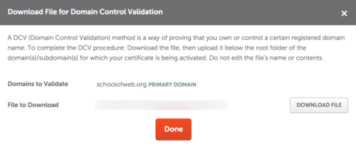 This is the domain control validation file to be placed on the server. You must download it.