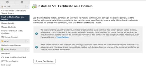 Options to install the SSL