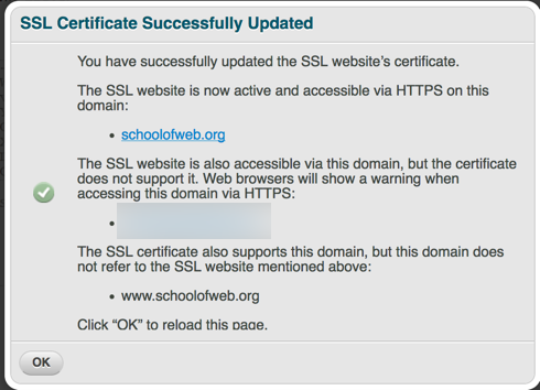 SSL certificate installed confirmation window
