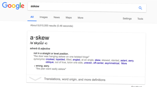 Page tilts when you search for askew