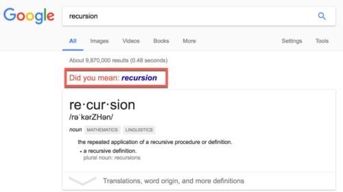 Recursive search for recursion