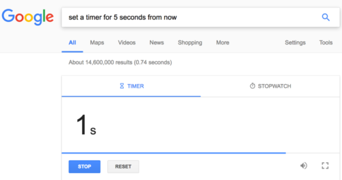 Setting a timer with Google