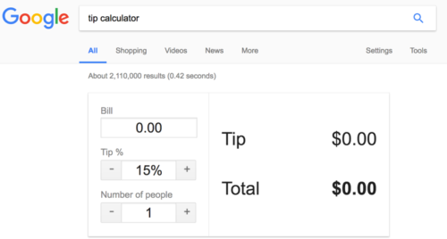 Using Google as a tip calculator