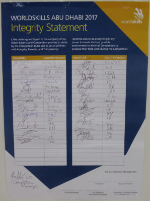Integrity statement signed by experts