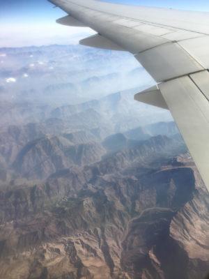 View of Iran Iraq border from 37,000 feet.