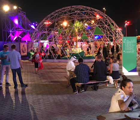 Exhibits before entering stadium for opening ceremony in Abu Dhabi