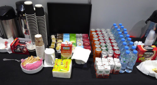 Snacks provided for competitors and experts