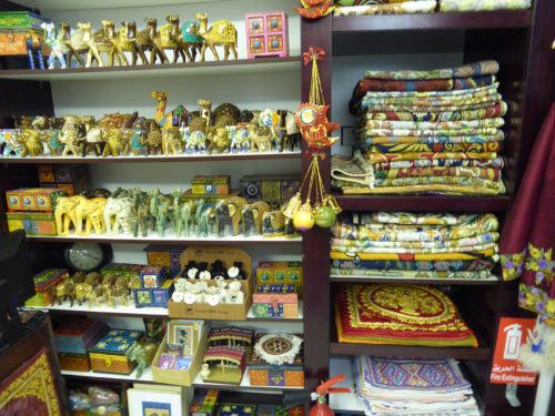 Many items for sale in small shops