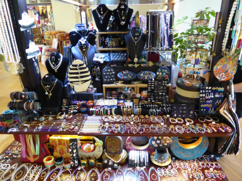 Many jewelry items for sale at this shop