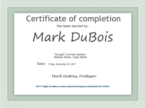 Certificate of completion showing date and count of correct answers