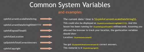 System variables in use in Captivate