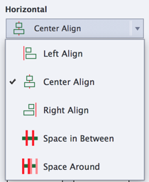 Horizontal alignment options available