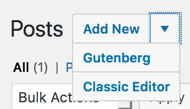 Editor choices with Gutenberg