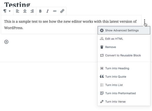 Various tasks you can perform on your block (including the ability to edit the HTML).