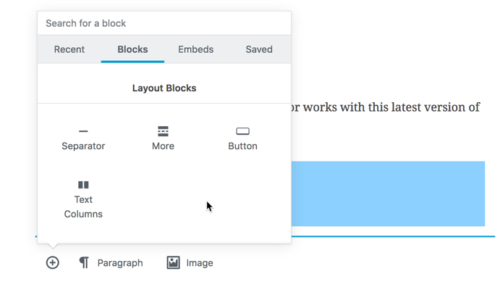 Some blocks you can add in the editor include tables and multiple columns
