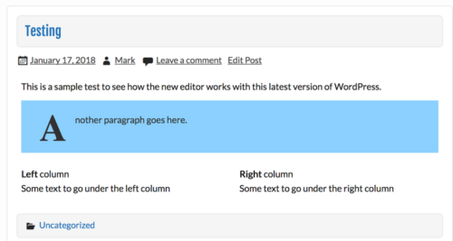 Page preview showing drop cap, colors, and multiple columns