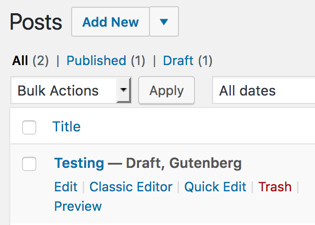 Post drafts clearly indicate they use Gutenberg