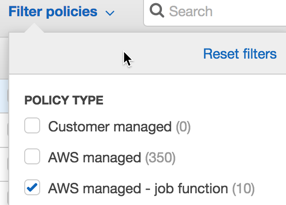Choosing AWS managed - job function after filtering to only group policy type in the policy selection list.