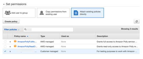 Attach the created policy to the user you just created.