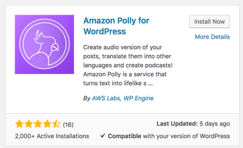 Screen capture of the description of the Amazon Polly for WordPRess plugin