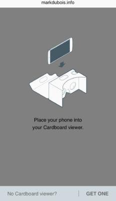 Propmt to use cardbaord viewer.