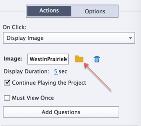 Choose the folder icon to locate the specific image you want to display when the hotspot is clicked