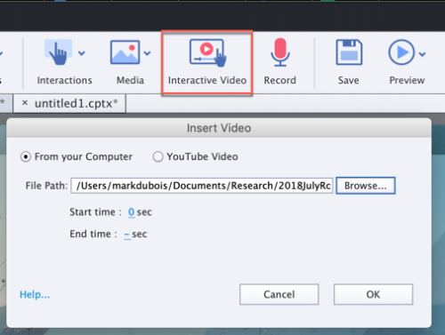 Screen capture showing the icon to add an interactive video from the main menu in Captivate.