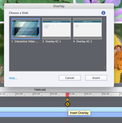 Screen capture depicting how to insert an overlay slide into the video at a certain spot in the video timeline.