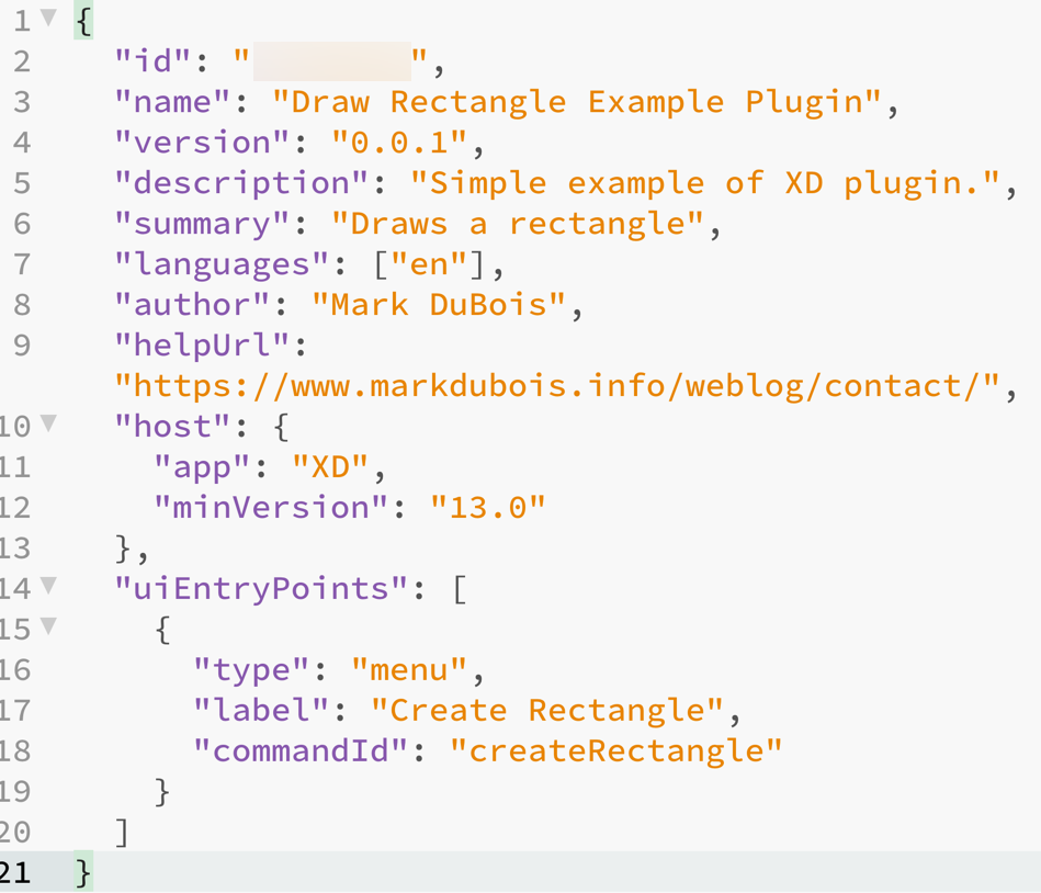 Screen capture of manifest.json file contents