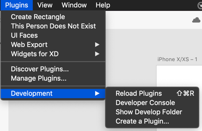 XD plugins menu also showing the Development menu. You may need to reload the plugins to see your changes.