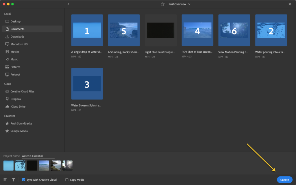 Premiere Rush screen capture showing order of media in a folder.