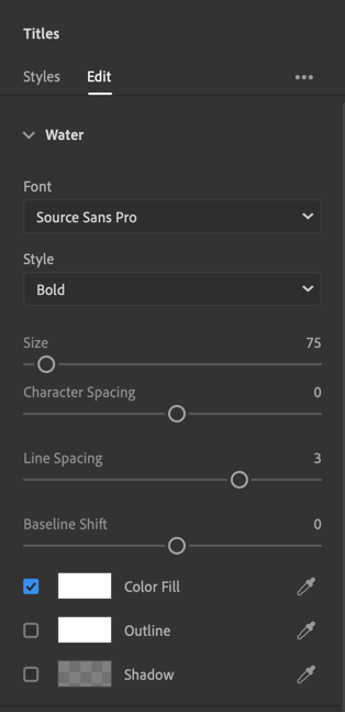 Screen capture showing editing of titles (modifying fonts and more).
