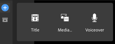 On the left side of the software interface, one can add a title, media, or a voiceover. I chose the latter.